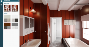 A bathroom shown in Yulio VR shown with a choice of color palletes, red in this one.