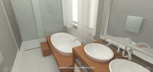 Using VR to select finish options in a condo bathroom