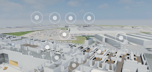 The same design presented in color using Yulio architecture VR including circles indicating linked scenes