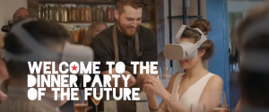 Guests in restaurant wearing VR headset