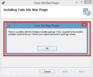 Error warning, Yulio 3DS Max Installation