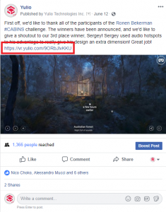 Unique URL from a Yulio FB post linking to VR projects